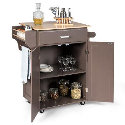Rolling Kitchen Island Kitchen Cart w/Storage Cabinet Towel RackSpice Rack Brown