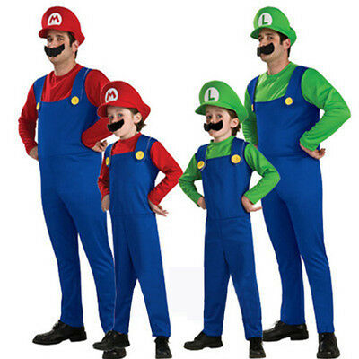 Adult Kids Super Mario Costume Luigi Bros Plumber Brothers Fancy Dress For - Luigi Costume Men