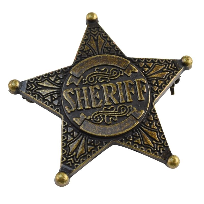 Old West Sheriff Star Badge Brass Lapel Pin Law Officer Police Costume Accessory