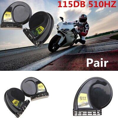 2PCS 12V Loud Compact Electric Blast Tone Horn Motorcycle Car 115db 510HZ