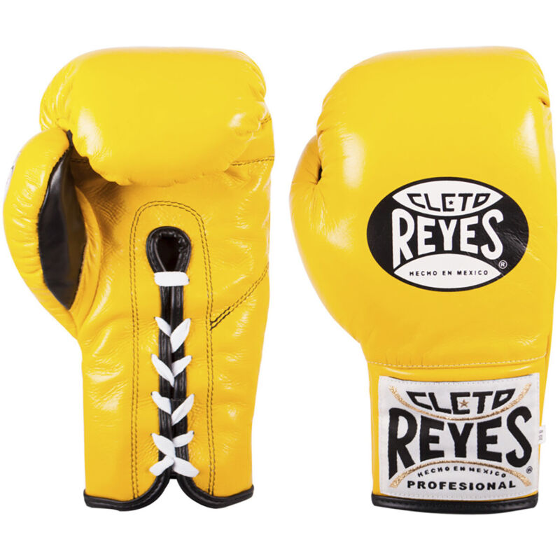 Cleto Reyes Official Lace Up Competition Boxing Gloves - Yellow