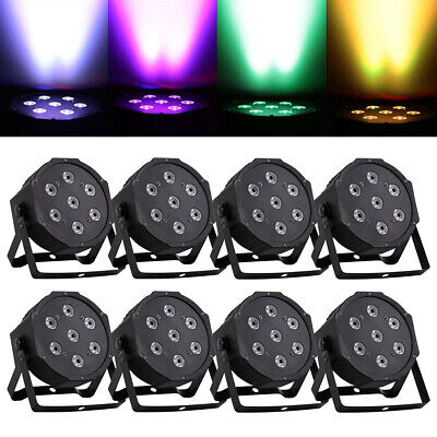 8PCS RGBW 70W 7LED 4IN1 Stage Par Light Party DMX512 DJ Color Mixing and Strobe