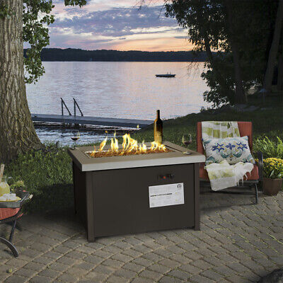 Outdoor Patio Firepit Table Deck Backyard Heater Fireplace Propane with Cover Backyard Patio Covers