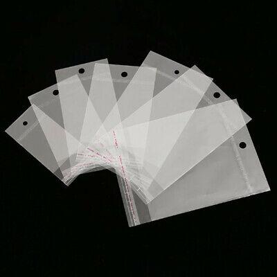 100pcs Clear Self Adhesive Peel Seal Plastic Bags Opp Poly Bag Hang Hole Storage