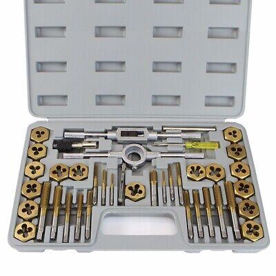 40 Pc Titanium Tap Die Set Hexagon Standard Size T Handle Wrench Extractors Sae