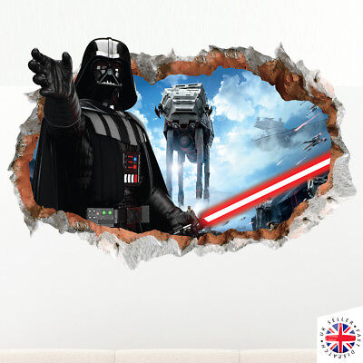 DARTH VADER STAR WARS Wall Sticker Decal Vinyl Art HOLE IN WALL A4