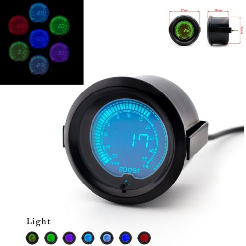 7-Color LED Digital Universal 52mm Car Turbo Boost Gauge Meter Adjustable Colors