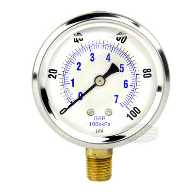 Quality Liquid Filled 2.5 100 Psi Air Pressure Gauge Lower Mnt Side Mount