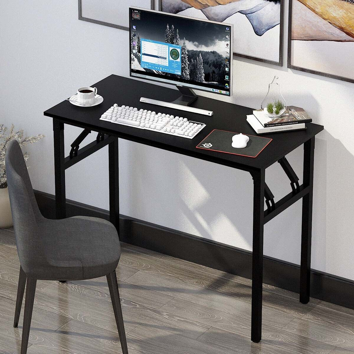 Folding Desk Table Home Office Computer Study Writing PC Laptop Tables Furniture