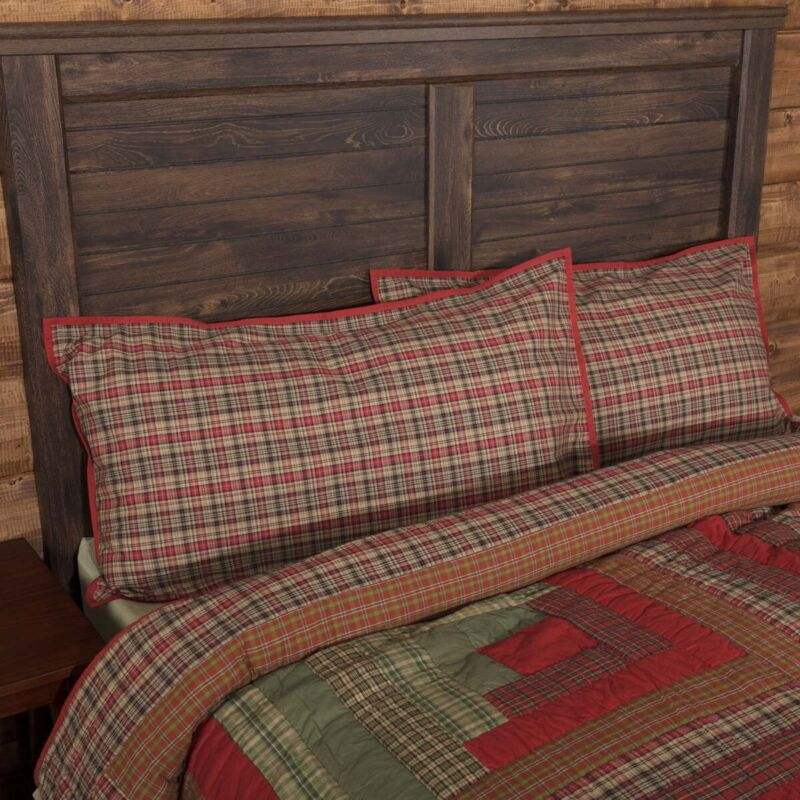 VHC Rustic King Sham Bedding Gatlinburg Red Cotton Plaid