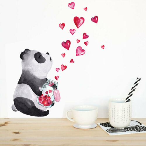 Hand-painted Heart Panda Wall Stickers Kids Room furniture R