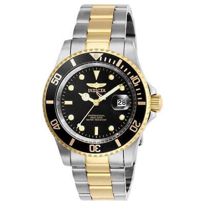 Invicta Men's Watch Pro Diver Quartz Black Dial Yellow Two Tone Bracelet 26973