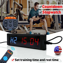 LED Interval Timer Wall Clock Training Garage Workout MMA Boxing Tabata w/Remote