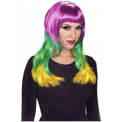 Womens Mardi Gras Wig Adult Purple Green & Gold Costume - Mardi Gras Wigs