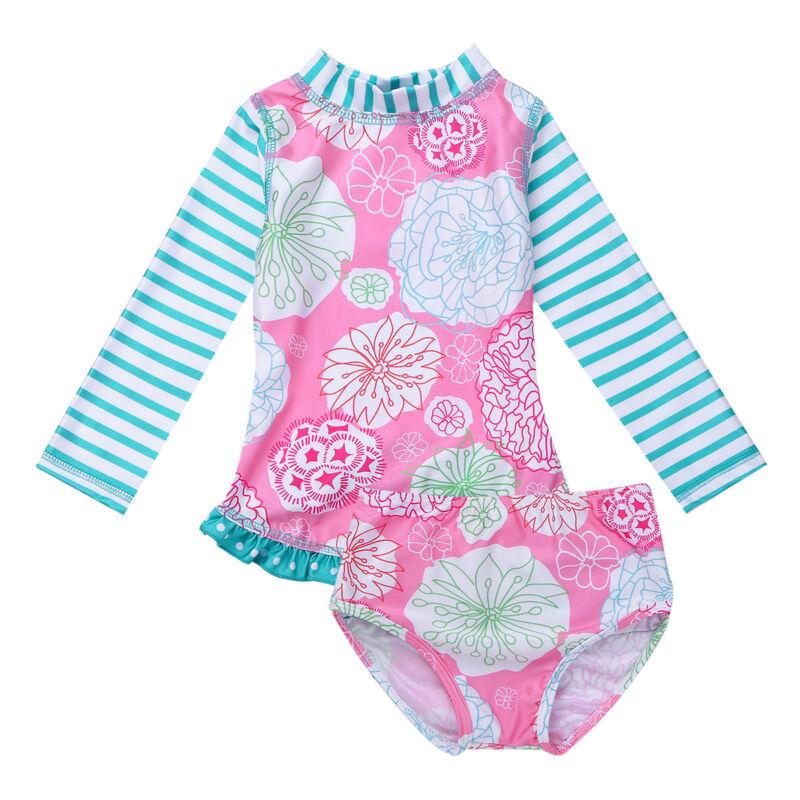 Baby Mädchen Badeanzug UV-Schutz Schwimmanzug Langarm Shirt + Badehose Outfits