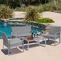4PC Patio Wicker Garden Sofa Seat