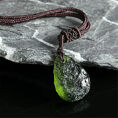 Collar De Energía Colgante De Piedra De Cristal De Moldavita Verde Natural