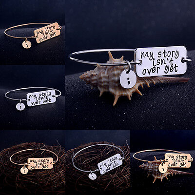 My Story Isn't Over Yet Bangle Bracelet Charm Jewelry Wire Semicolon Simple Hot