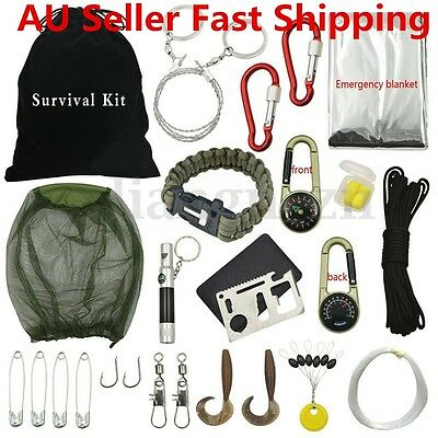 NEW 31pcs Outdoor Hiking Camping Emergency Survival Tool Set First Aid Gear Kit