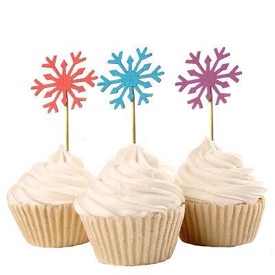 Snowflake Birthday Decorations (10pcs Snowflake Cupcake Picks Toppers Girl Frozen Birthday Party)