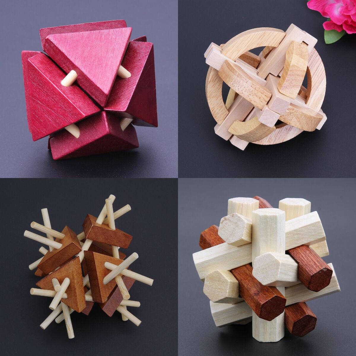 Kongming Luban Lock Block Kids Adult Wood Chinese Puzzle Brain Teaser Magic Toys