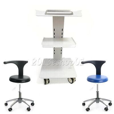 Dental Trolley Built-in Socket Cart Doctor Stool Adjustable Mobile Chair