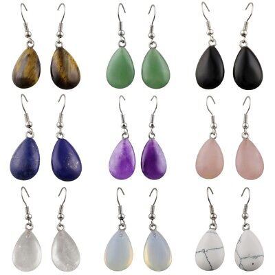 (Teardrop Amethyst Rose Quartz Agate Crystal Gemstone Dangle Drop Hook Earrings)