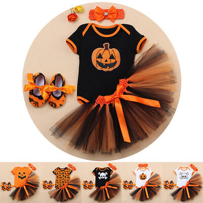Pumpkin First Halloween Costume Baby Girl Skull Fancy Dress Up Cosplay 4PCS Set - Baby's First Halloween Costume
