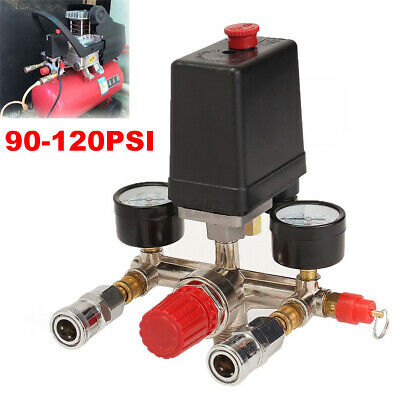 90-120psi Air Compressor Pressure Switch Manifold Gauges Regulator Control