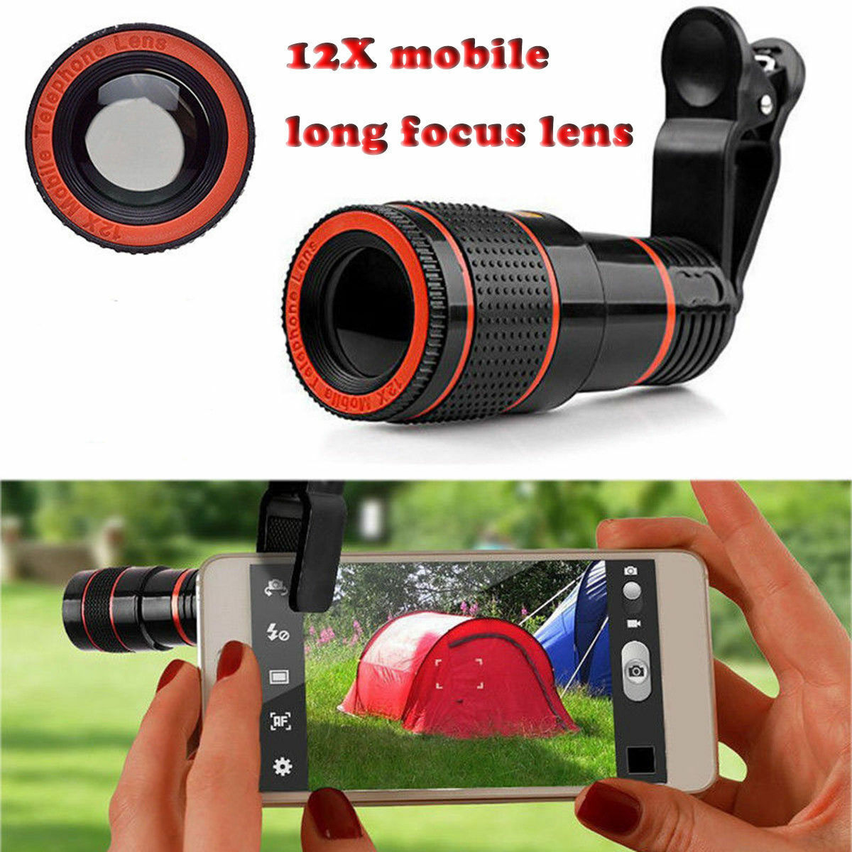 12x Optical Zoom Lens Telescope Telephoto Clip on for Mobile