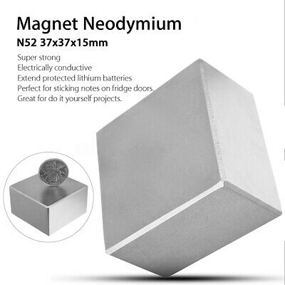 N52 Large Neodymium Rare Earth Magnet Big Super Strong Huge Size 37mmx37mmx15mm