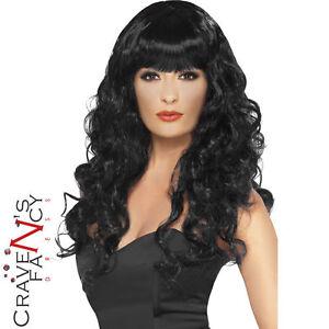 Ladies Long Black Siren Witch Wig Vampire Halloween Fancy Dress Accsessory