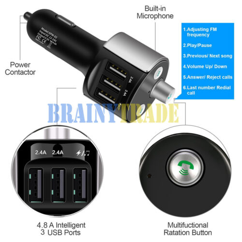Купить AGPTEK - Bluetooth Car FM Transmitter Wireless Radio Adapter USB Charger Mp3 Player