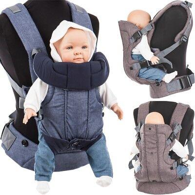 Fillikid 3IN1 Bauchtrage Rückentrage Baby Trage Hilfe Carrier Tragetuch Hüftgurt