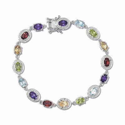 """925 Sterling Silver Garnet Sky Blue Topaz Bracelet Gift For Women 7.25"""" Ct 7.8"""