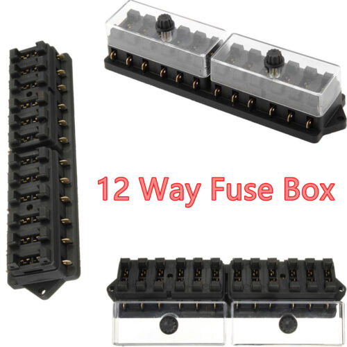 12 Way Standard Blade Block  Fuse Box Kit Car Boat Marine Fuse Box Holder 12v