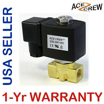 Viton 14 In 220v-240v Ac Brass Solenoid Valve Npt Gas Water Air Normally Closed