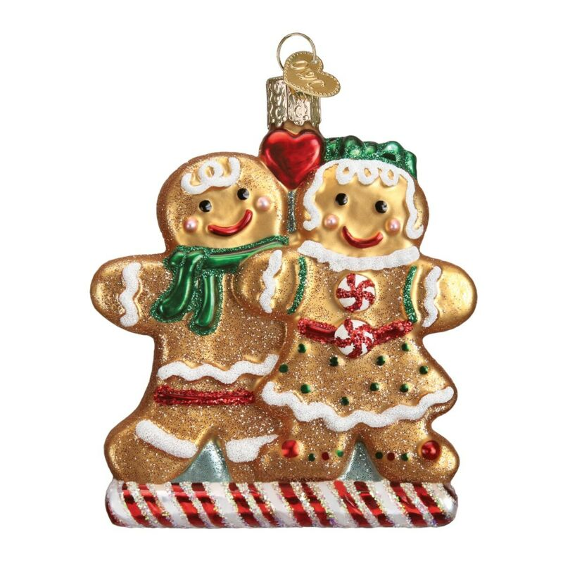 Old World Christmas Gingerbread Friends Glass Tree Ornament FREE BOX 32219 New