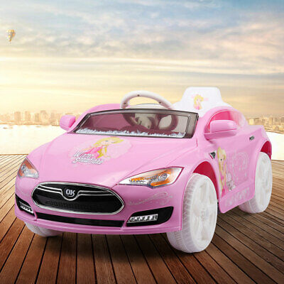 Kids Ride On Electric Car w/ LED Light Remote Control 3 Speed MP3 Music 6V Pink