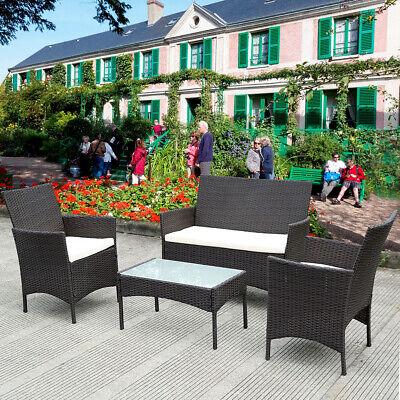 Garden Furniture - Rattan Outdoor Garden Furniture Set 4 Piece Chairs Sofa Table Patio Set Black