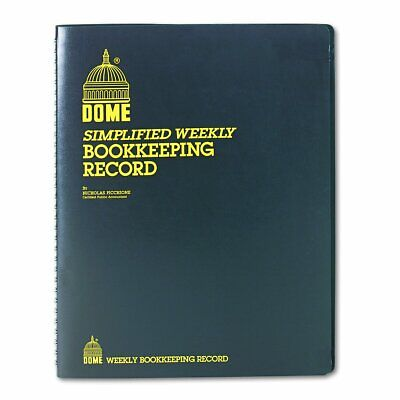 Dome Dom600 Bookkeeping Record Book Weekly 128 Pages 9 X11 Inches Brown