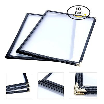 10 Pack Triple Fold Menu Covers Restaurant Book 8.5x11 3 Page 6 View -black