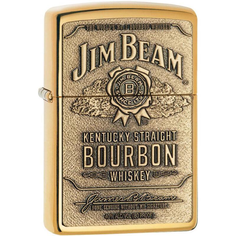 Zippo Jim Beam Brass Emblem Pocket Lighter