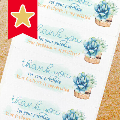 Thank You Labels Stickers For Online Shop Sellers 100ct - Succulent In Pot