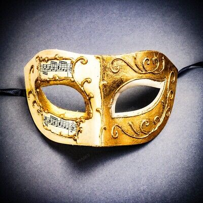 Classic Venetian Eye Mask Masquerade Halloween Party Costume Musical Gold White](Music Halloween Costumes)
