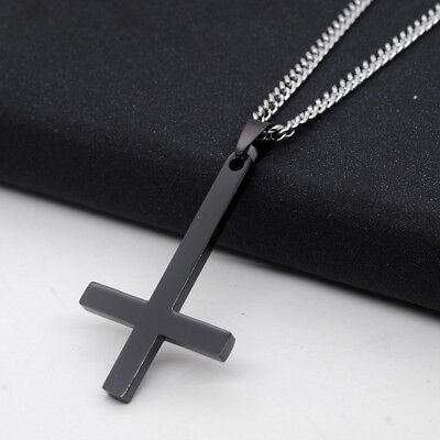 Black Titanium Cross (Gold/Silver/Black Titanium Steel Inverted Cross Pendant Necklace Chain)