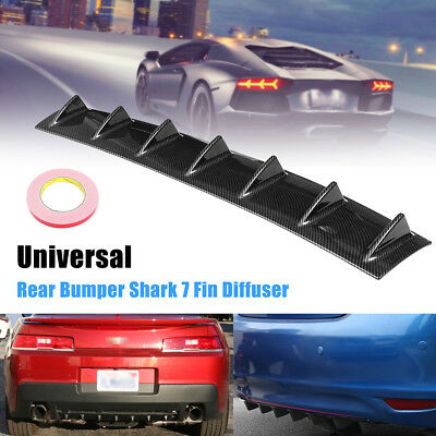 33 x 6 Universal Car Rear Bumper Lip Diffuser CARBON ABS Shark Fin 7 Wing