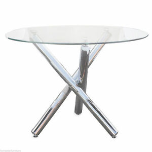 Trion 5pc Dining Table Set:Round Glass Table+PU Upholstered Chair Sydney City Inner Sydney Preview