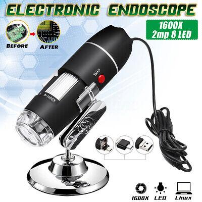 1600x 8led Usb 2mp Digital Microscope Hand Held Biological Endoscope Zoom Camera