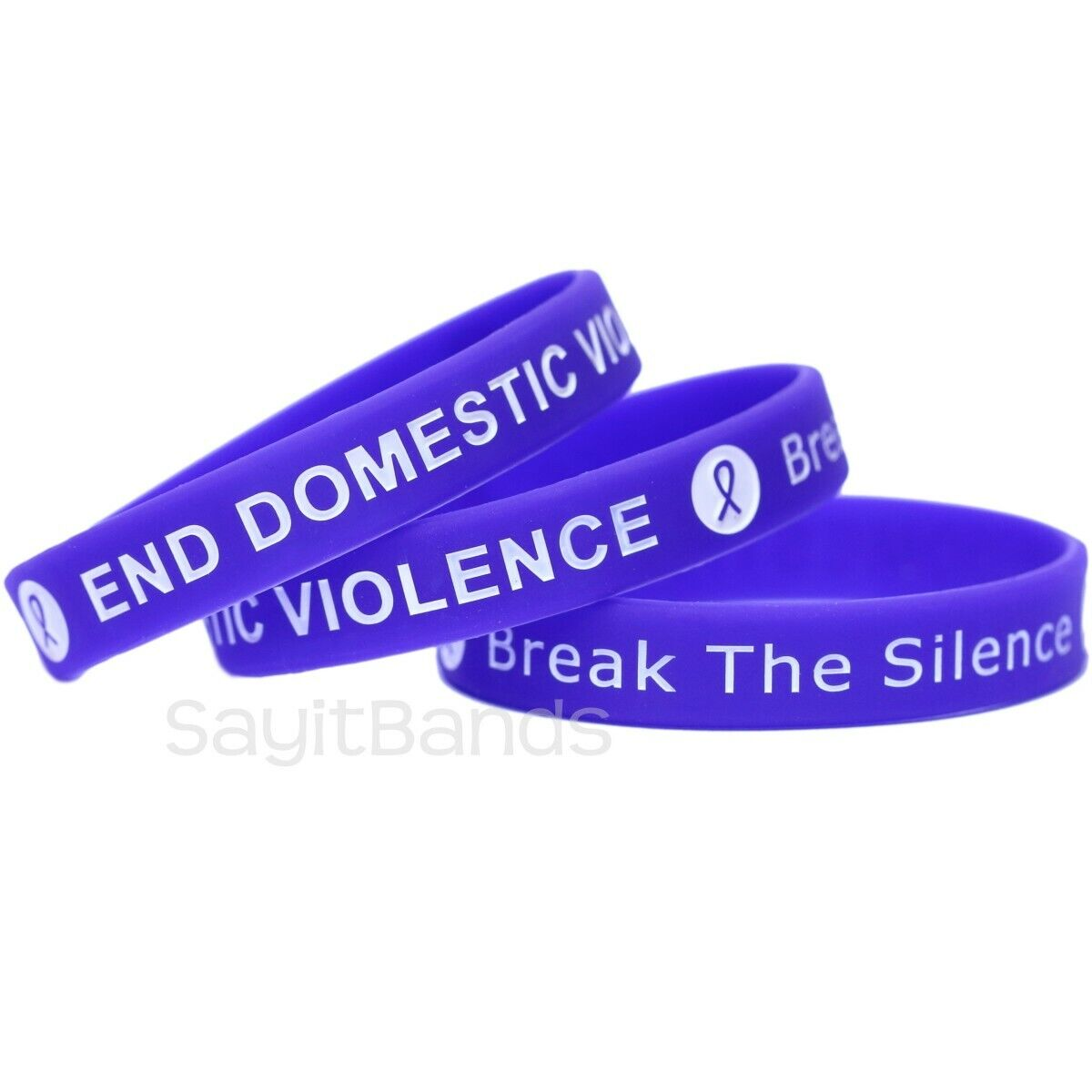 5 End Domestic Violence Bracelets - Debossed Silicone Awareness Wristbands - $8.88